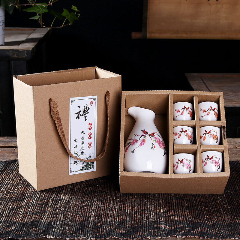 Ceramic wine set gift box hot wine white wine cup a pot of six cups pot points wine Promotional gifts Japanese sake Cup image