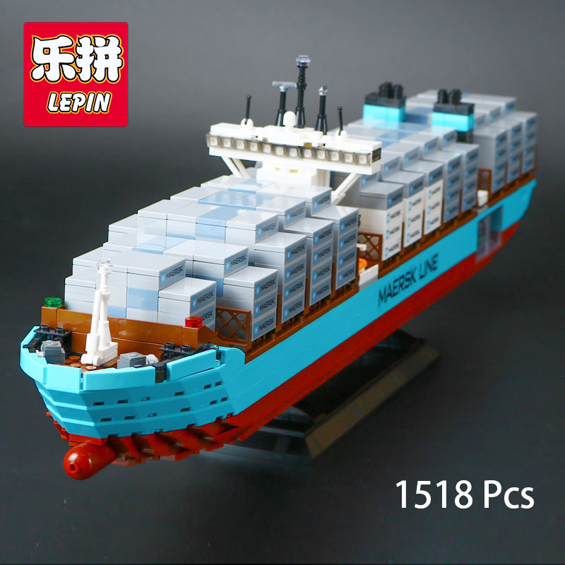 Lepin 22002 Creator Set Maersk Line Triple-E Genuine Legoing Technic Series The Cargo Container Ship Set  Compatible with 10241 lepin 22002 1518pcs the maersk cargo container ship set educational building blocks bricks model toys compatible legoed 10241