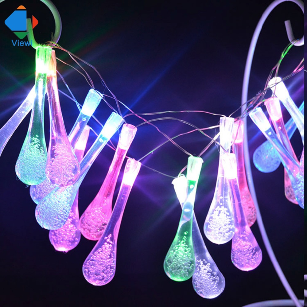 Viewi fairy lights 6M 30X Led droplet solar Power 4 colors Wedding Party Holiday christmas lights outdoor decoration lighting ...