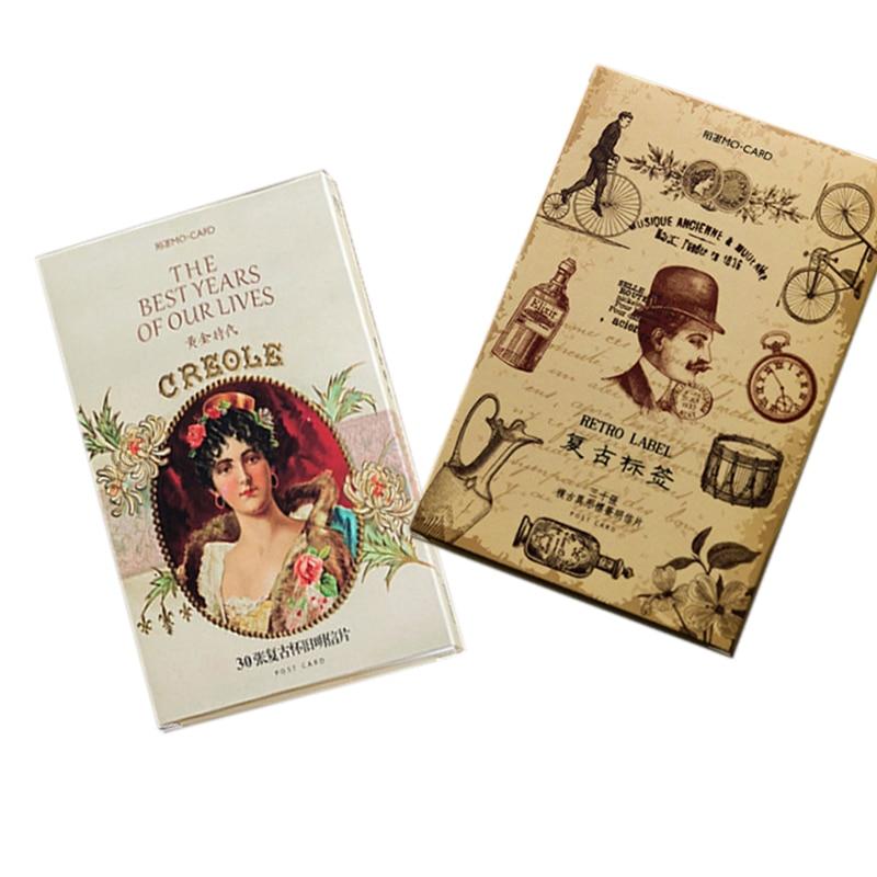 30 Pcs/lot New Retro Label Postcard Golden Age Postcard Vintage Heteromorphism Card  Greeting Card Birthday Christmas Gift