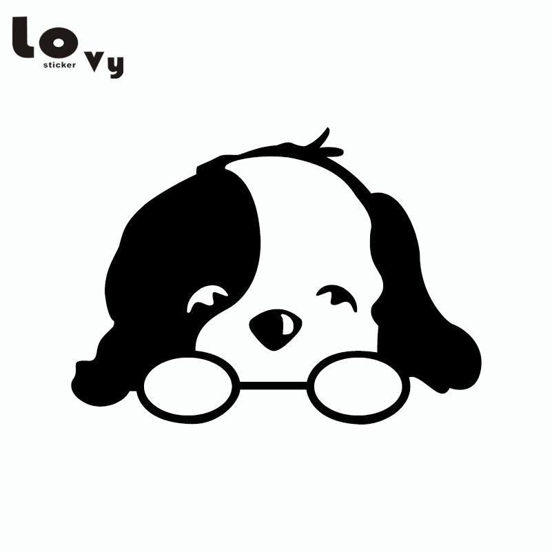 Pequeño perro lindo dibujos animados etiqueta engomada del coche ...