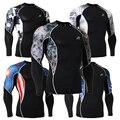 3D Печать Мужская С Длинным Рукавом Сжатия Рубашка Эластичный Тренировки Фитнес Skin Колготки Базовый Слой для Мужчин Crossfit ММА Rashguard Топы