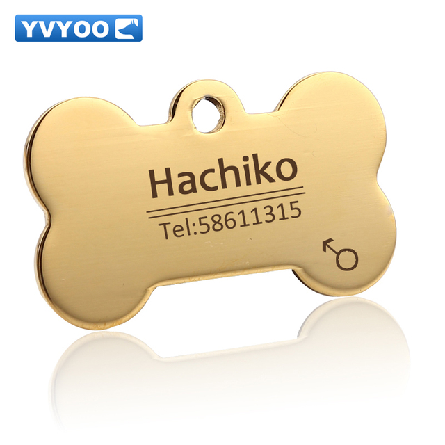 YVYOO Dog cat tag Dog collar Stainless steel  Free engraving Pet Dog Cat collar accessories ID tag name telephone   BB