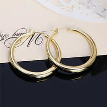 New Popular Gold Round Creole Circle Hoop Earrings Classic Piercing Fashion Women Jewelry Casual Sporty For Party Gifts
