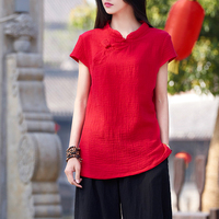 QPFJQD Red Short Sleeve Summer Cotton Linen Tops Vintage Button Chinese Style Original Blouse Casual Ethnic