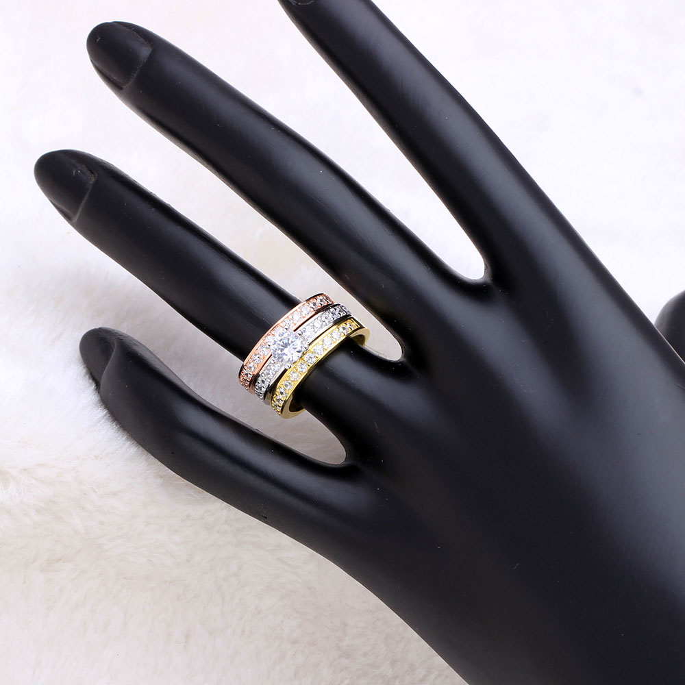 Classic Designer 3 Round Cubic Zirconia Finger Rings Sets For Women Gold Silver Color Rings Wedding Engagement Jewelry Gift in Rings from Jewelry Accessories
