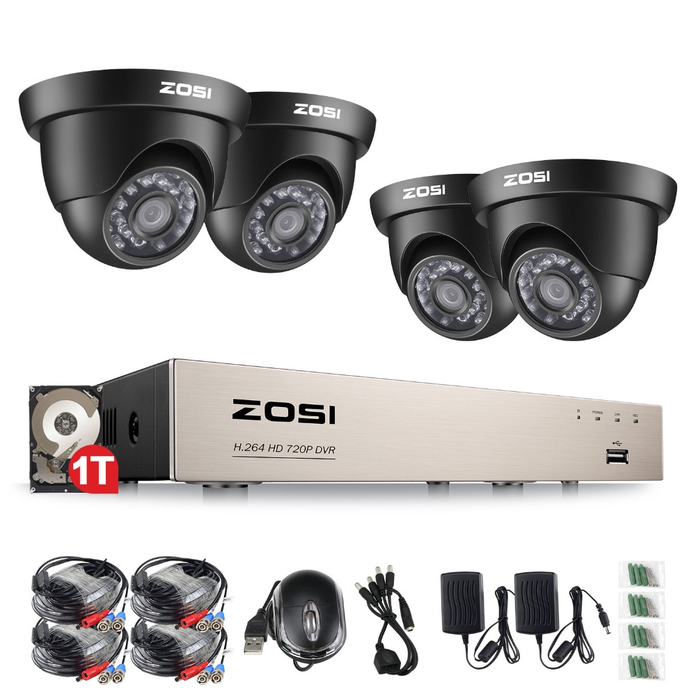 ZOSI 8CH CCTV System 1080N HDMI 4IN1 DVR 4PCS 720P IR Outdoor Camera Home TVI Security System Surveillance Kits 1TB HDD zosi 8ch 1080n tvi h 264 1tb 8ch dvr 8 720p outdoor bullet dome cctv video home security camera system surveillance kits