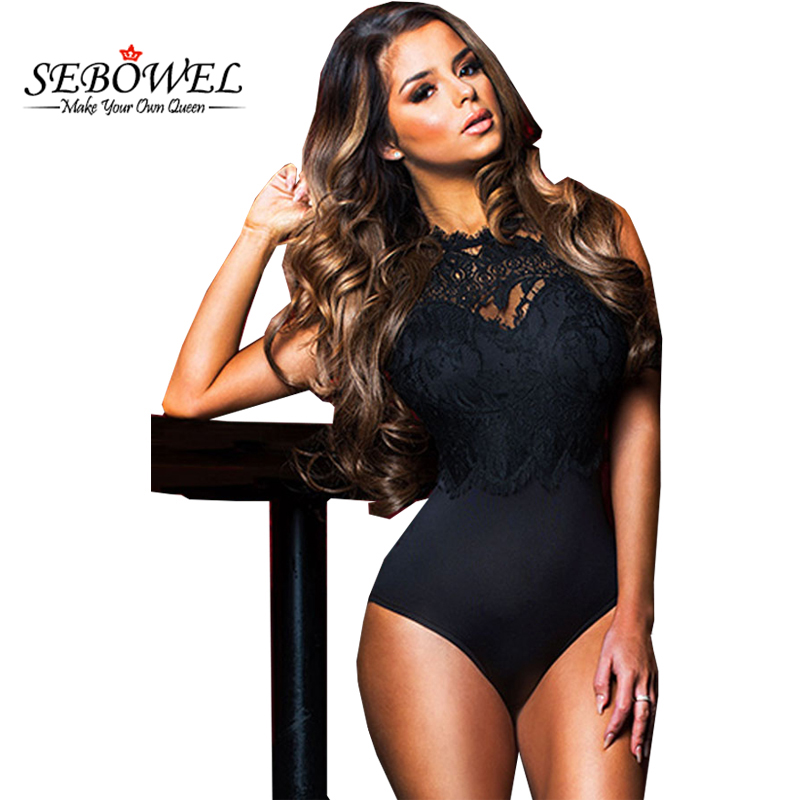 SEBOWEL Sexig Svart Spets Bodysuit Kvinnor Hög Hals Cut Out Ryggsäck Romper Backless Ladies Body Dentelle Shorts Playsuits