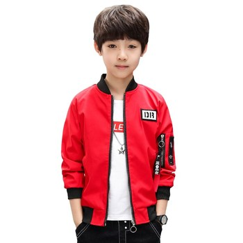Baby Boys Clothing 2018 Kids Spring New Printed Sticker Fashion Zipper Jacket Boy Casual Wear A black, Red, Breathable Coat