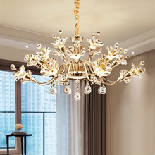 Modern Chandelier Minimalist Dimming LED  Glass Flowerl Living Room Bedroom Restaurant Bar Home Lighting