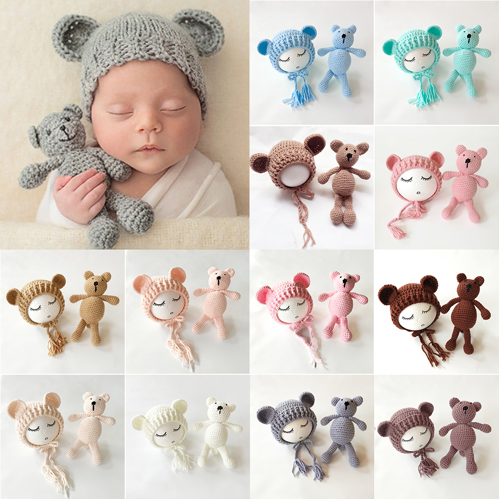 2019 Cute Newborn Baby Girls Boys Knit Crochet Bear Hat Cap Costume Photography Props(China)