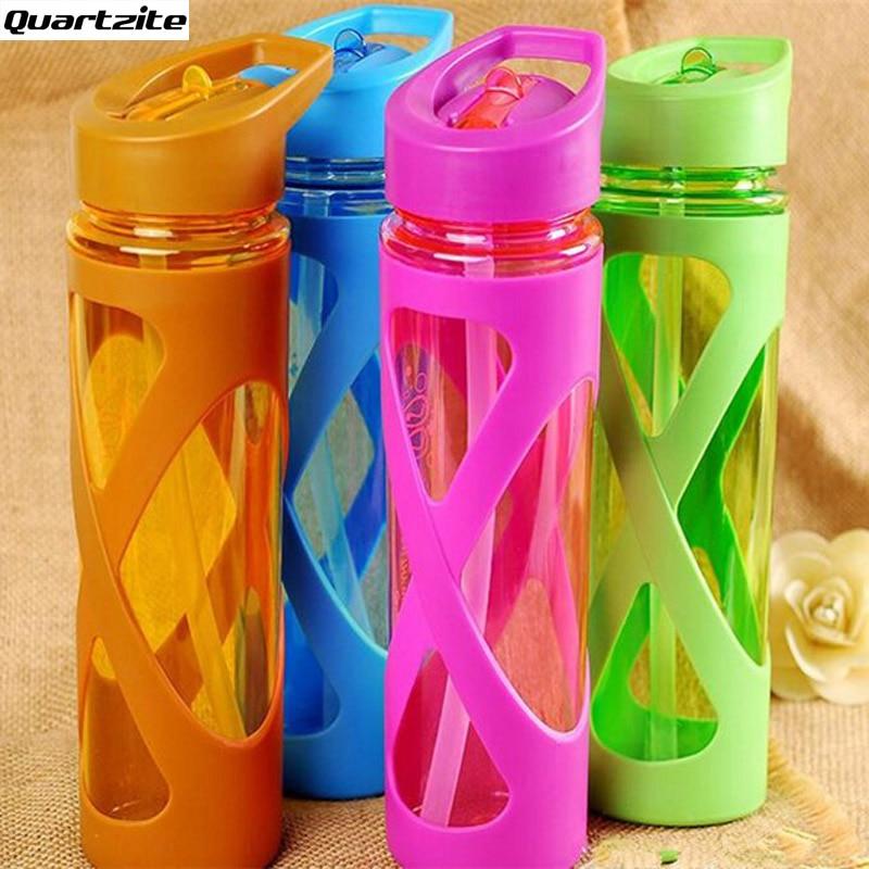 580ml Straw Sport Portable Water Bottle Leak Proof Anti Hot With Plastic Sleeve Infuser My Drink Fruit juice tea milk Bottle