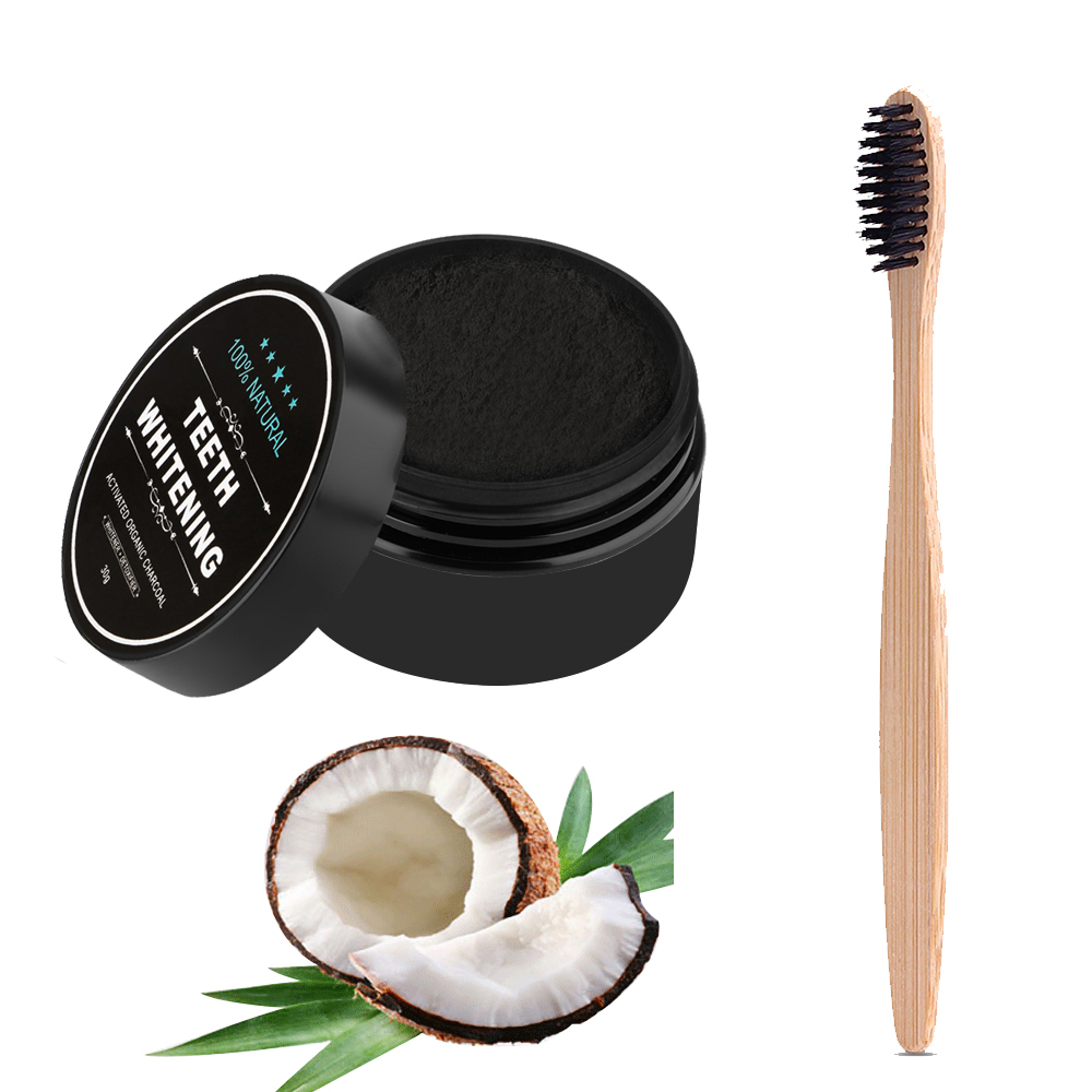 Teeth Whitening Powder Charcoal Toothbrush Environment Soft-bristle Wooden Tooth Brush Black Bamboo Toothpaste