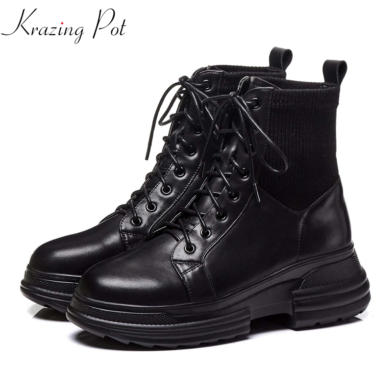 Krazing Pot cow leather stretch knitting modern streetwear vintage wedges heel thick bottom waterproof Winter ankle boots L0f7Krazing Pot cow leather stretch knitting modern streetwear vintage wedges heel thick bottom waterproof Winter ankle boots L0f7