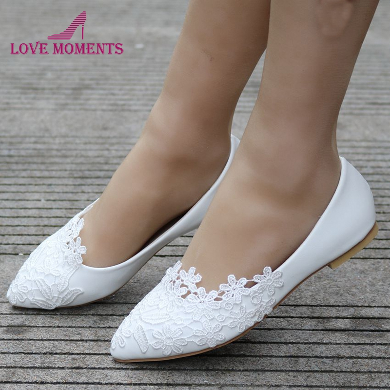 Free Shipping Best Price Flat Heel Wedding Party Shoes White Red
