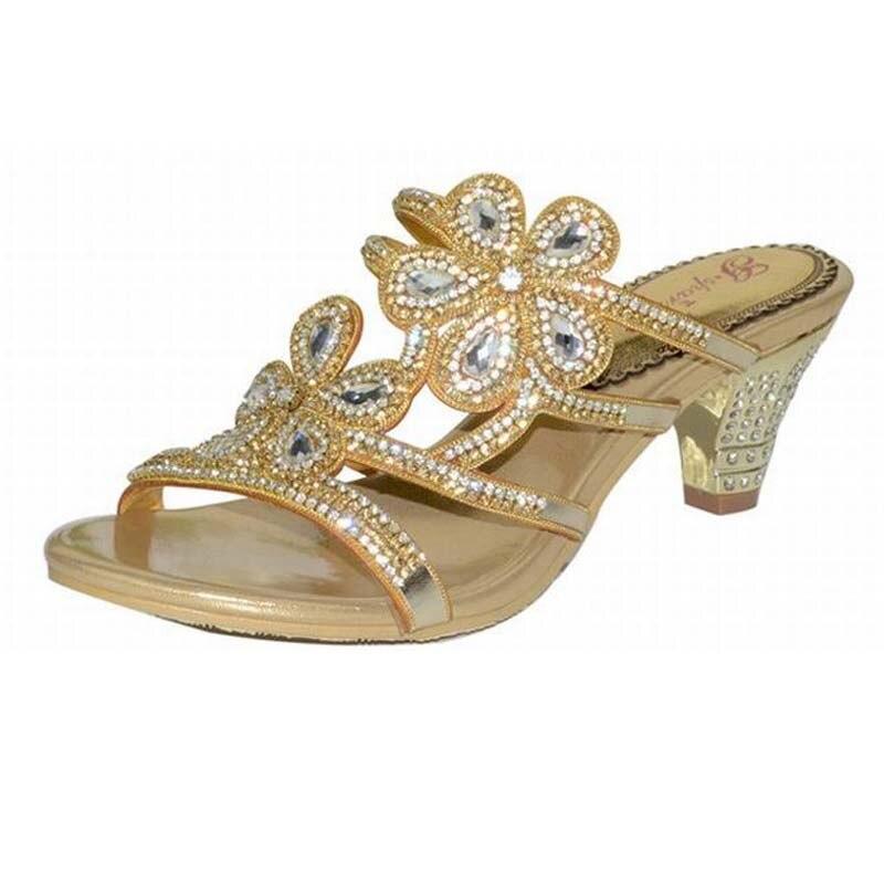 Новая мода рим гладиатор толстые на высоком каблуке тапочки цветы горный хрусталь кристалл каблуки сексуальные открытым носком тапочки партийные свадебные туфли