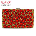 NATASSIE Women Colorful Bags Ladies Evening Bag Female Rectangular Clutches With Chain