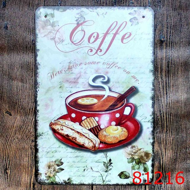COFFEE SHOP Vintage Metal Signs Decorative Coffee Plates Wall Sticks for Friends Gift Retro Plaque Bar & COFFEE SHOP Vintage Metal Signs Decorative Coffee Plates Wall Sticks ...
