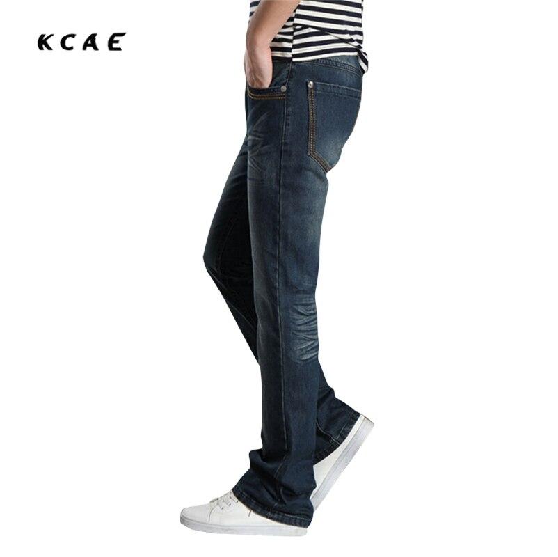 Mens jeans boot cut leg slightly flared slim fit blue male jeans designer classic denim Jeans Plus Size 28-38
