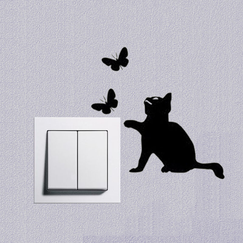 small cute cats & butterfly bedroom decoration wall decal creative