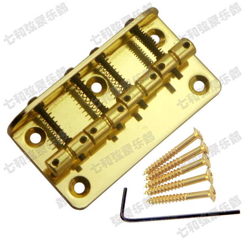 A Set Gold Vintage Top Load 4 String Saddle Electric Bass Bridge Length 80mm a set chrome vintage shape saddle bridge for 5 string electric bass guitar top load or strings through body