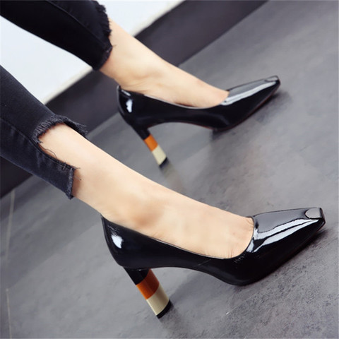 ALLBITEFO Colored heel fashion women high heel shoes metal square toe girls party wedding shoes spring women pumps high heels Lahore