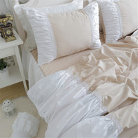 Free shipping 100%cotton Korean ruffles light camel with white bedding set twin full queen king size lace bed skirt YYX