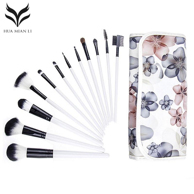 все цены на Makeup Brush Set 12Pcs Foundation Eyeshadow Eyebrow Eyeliner Eyelash Lip Blending Makeup Brushes Cosmetic Tool With Flower Bag онлайн