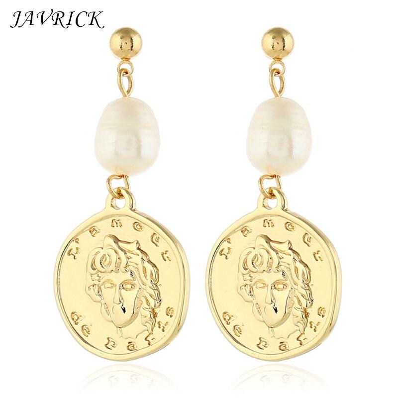 Women Charm Lady Vintage Earrings Portrait Coin Shape Pendant Imitation Pearl Earring Jewelry