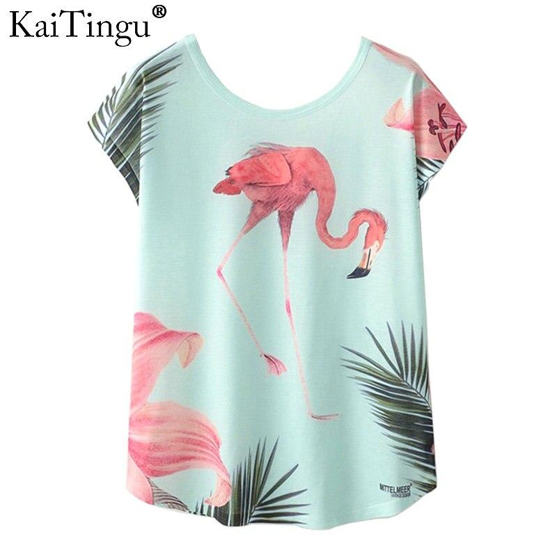 KaiTingu Summer Novelty Women T Shirt New Harajuku Kawaii Cute Style Bird Crane Print T-shirt Short Sleeve Tops Size M L XL