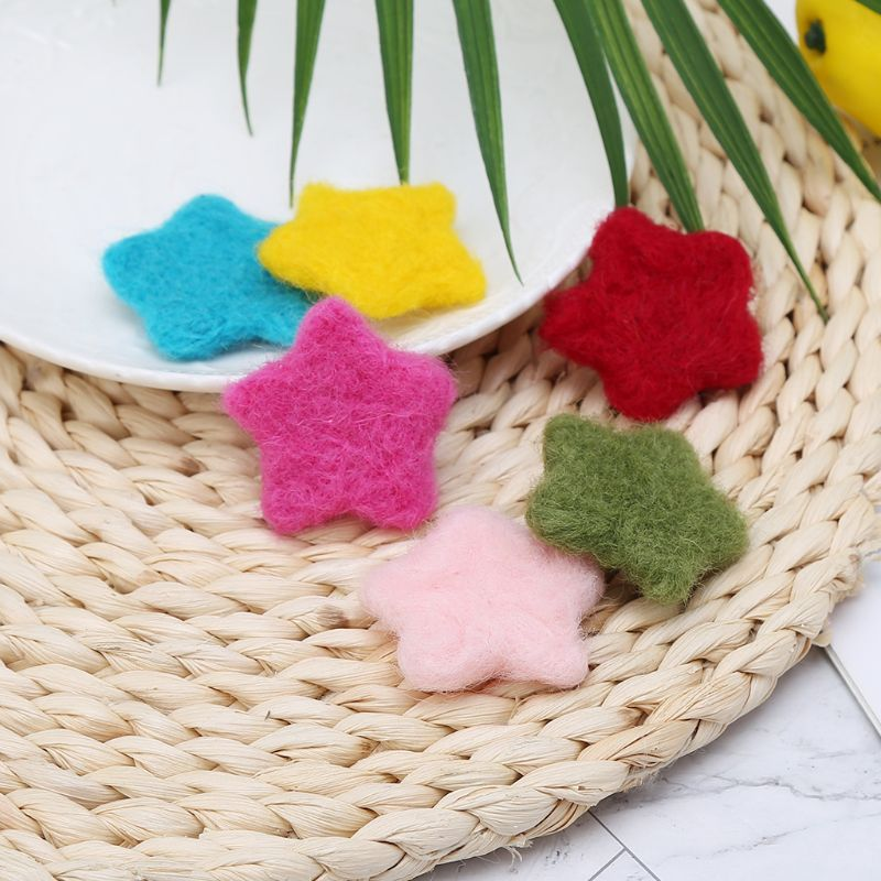 Real Life Plush 4pcs Photography Props Diy Felt Baby Decoration Star Shape Toy Colorful Woolen Photo Ornaments