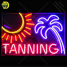 Neon Sign for Tanning with sun tree NEON Bulb Sign emotion Lamps Decorate Home BedRoom Restaurant Handcraft neon light(China)