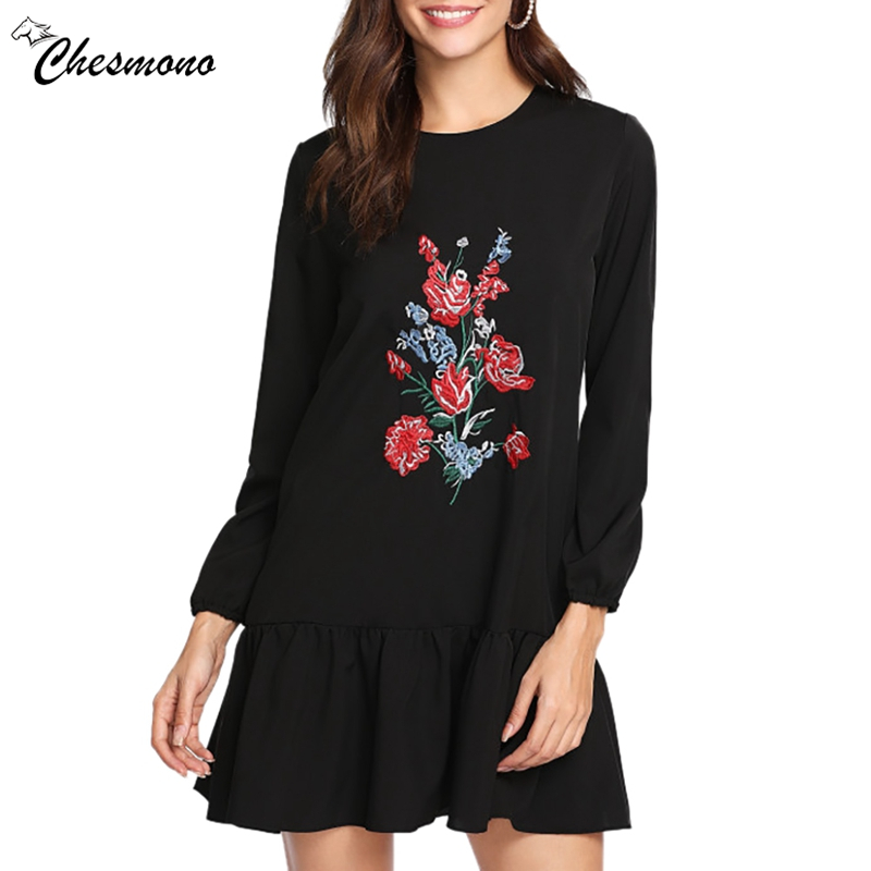 Elegant Spring Clothes Women Party Short Embroidery Floral Ruffles Hem Black Skater Dress Robe Sexy casual long sleeve Sundress