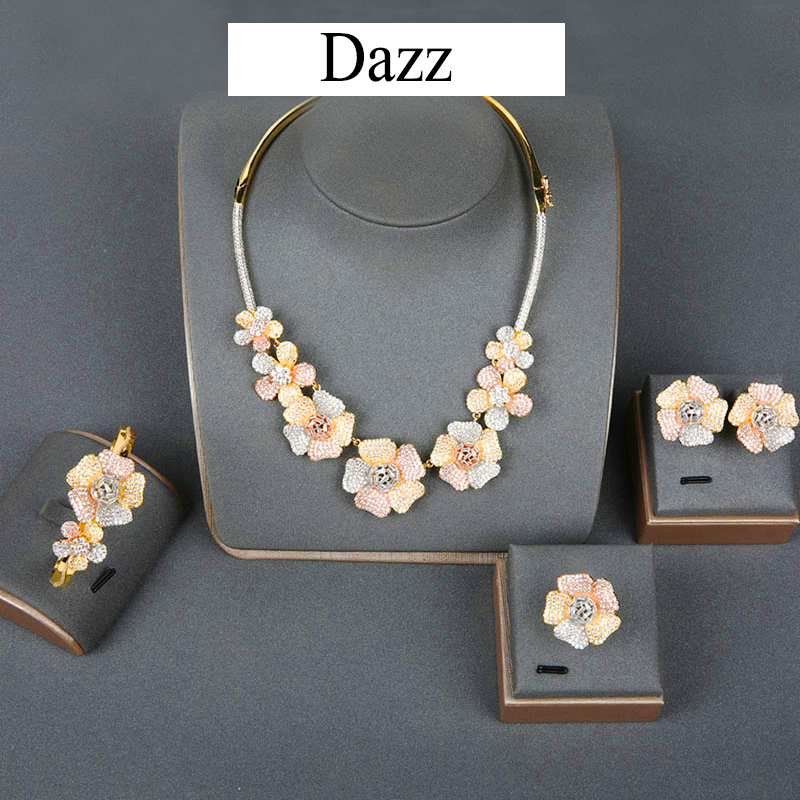 Dazz Flower Leaf Luxury Necklace Earrings Bangle Ring For Women's Nigerian Wedding Bridal Zircon Dubai 4PCS Big Jewelry Set 2019
