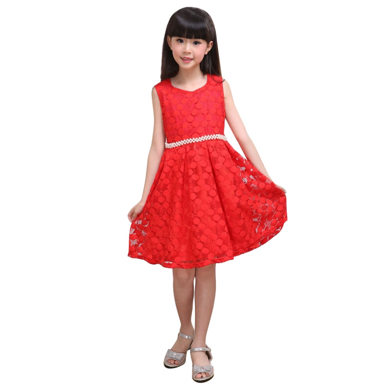 2016 Summer Lace Vest Girls Dress Kids Baby Sleeveless Floral Dacing Party Wedding Tutu Dress For 2-7 Years LL8 summer kids girls tutu one piece sleeveless big bowknot party floral dress