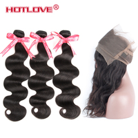 Hotlove Hair Body Wave Brazilian hair weave 3 bundles With 360 Lace Frontal Non Remy 4pcs/lot Hair Pre Plucked Free Shipping