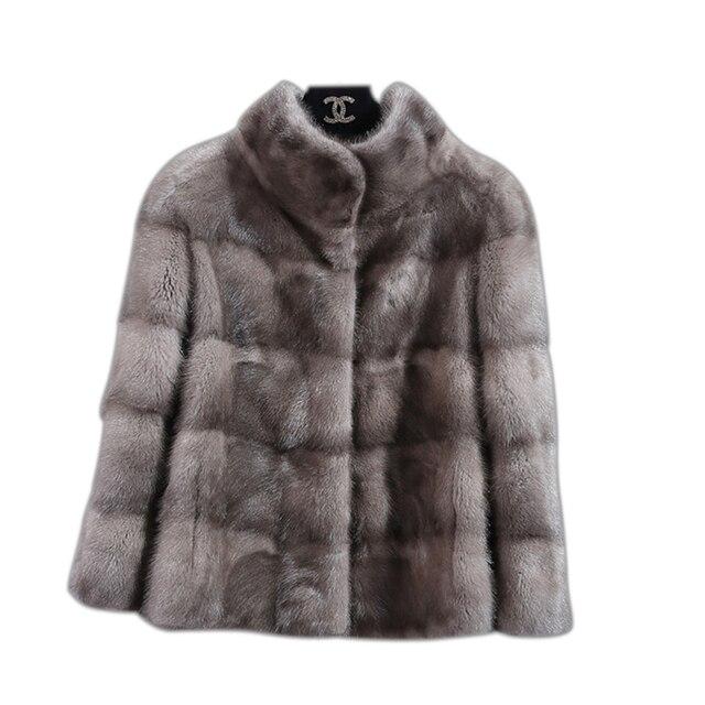 BFFUR Echte Bontjas Mode Slanke Jas Bont Echt Top Grade Casual Dikke Warme Vrouwen Kleding 2018 Minkbontjas natuurlijke Bont
