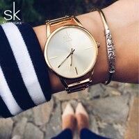 Shengke SK Brand Quartz Charming Stainless Steel Back Bracelet Watch Women Elegant Dress Ladies Crystal Clock