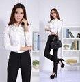 New Plus Size 2015 Femininos profissional trabalho de escritório de negócios desgaste fatos de calça com blusas terninhos uniformes de estética conjunto