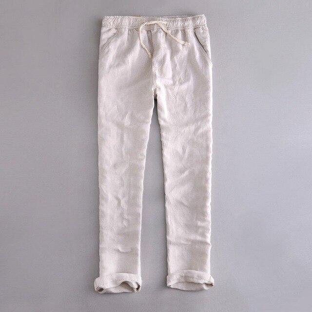 Autumn And Winter Loose Elastic Waist Casual Linen Pants Men Long Trousers Cotton Men Solid Pant Hombres Pantalones