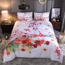 Искусство Музыка постельных принадлежностей Твин Полный Королева Король двойной размер красивой жизни пододеяльник наволочки 3D музыкальная нота постельное белье