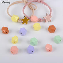 Fashion Jewelry Accessory Beads DIY Acrylic Cream Colour Hair Loop Pearl Through Hole Hexagonal Headwear