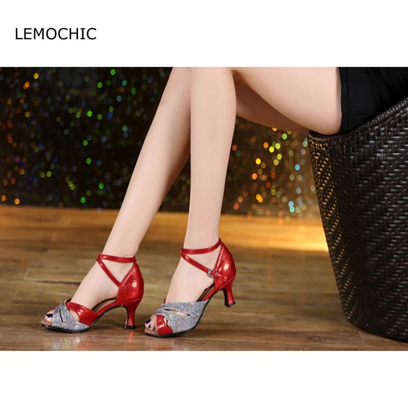 LEMOCHIC female adults professional ballroom dance latin samba tango pole comfortable summer high heels soft sole dancing shoes