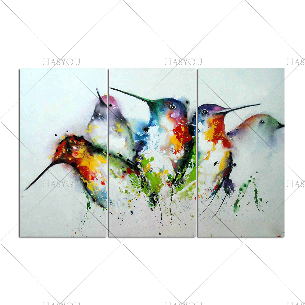 Wall Art 3 Line Of Birds : Abstract black and colourful animal panels canvas wall