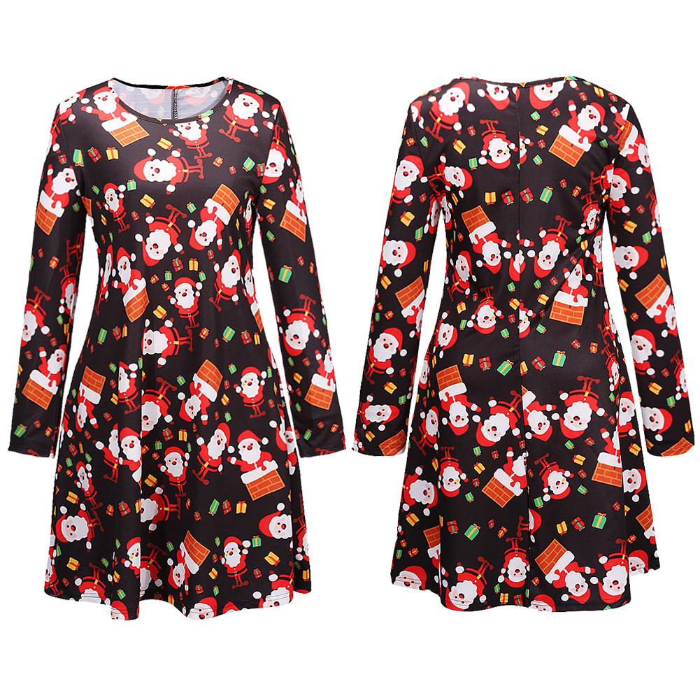 Female Long Sleeve Digital Print Family Casuale Dress Christmas Women's Fashion Dress plus size Ladies Clothes robe femme