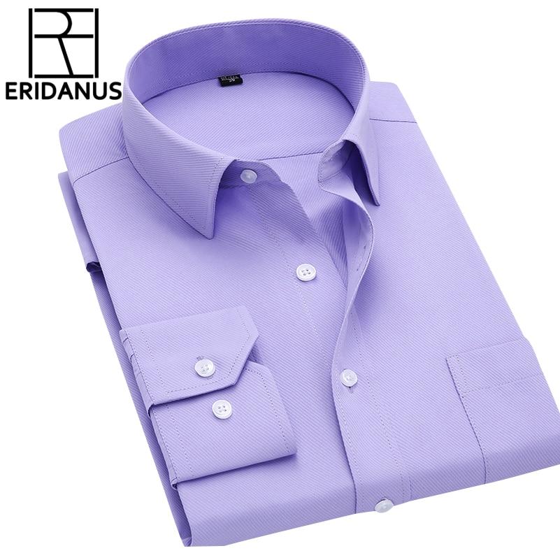 Langarm Dünne Männer Businesshemd 2017 Herbst Neue Mode Designer Hohe Qualität Feste Männliche Kleidung Fit Business Shirts 4XL M431