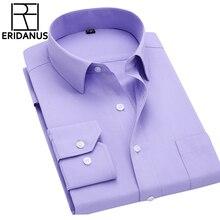 С длинным рукавом Тонкий Для мужчин платье рубашка осень 2017 г. новые модные дизайнерские Высокое качество Твердые мужской Костюмы Fit Бизнес Рубашки 4XL M431