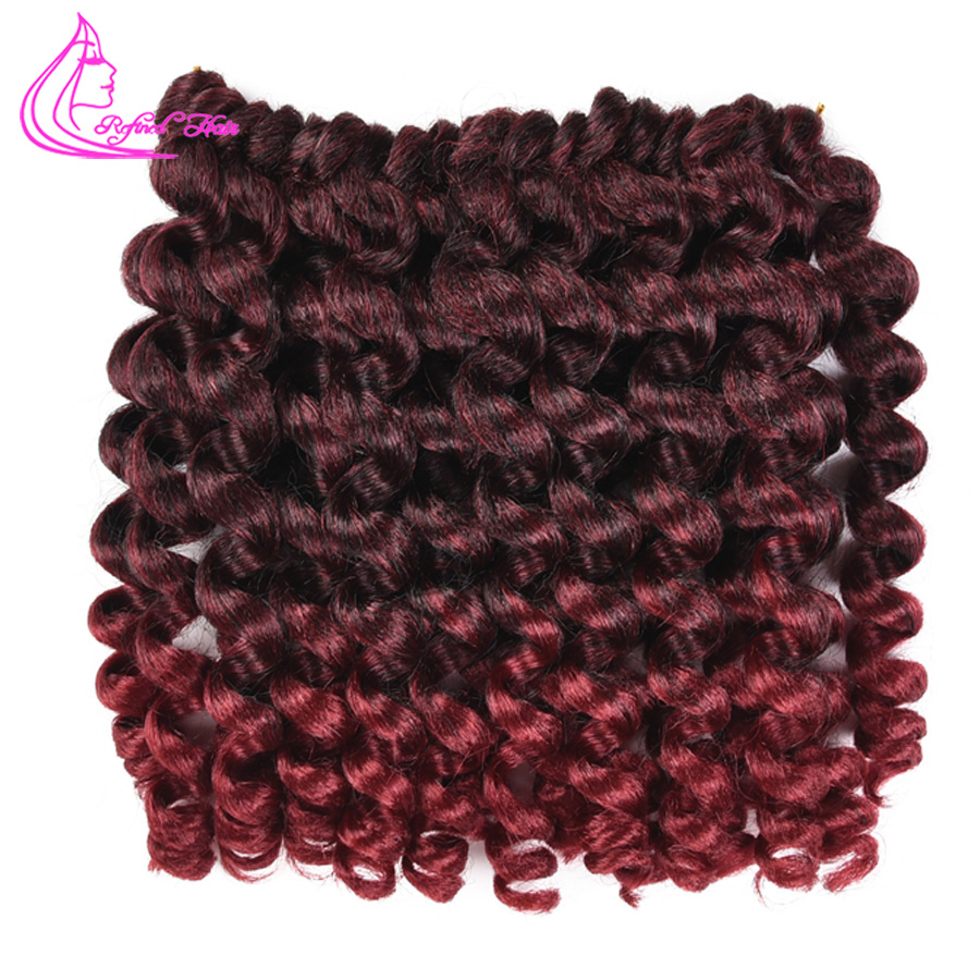 Home Refined Hair 8 20strands Jamaican Bounce African Crochet Braids Ombre Kanekalon Jumpy Wand Curls Synthetic Braiding Hair Bulk