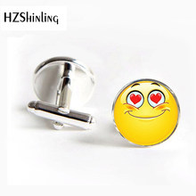 2018 New Arrival Happy Expression Cufflinks Handmade Expression Jewelry Glass Round Cute Face Cuffs Gift(China)