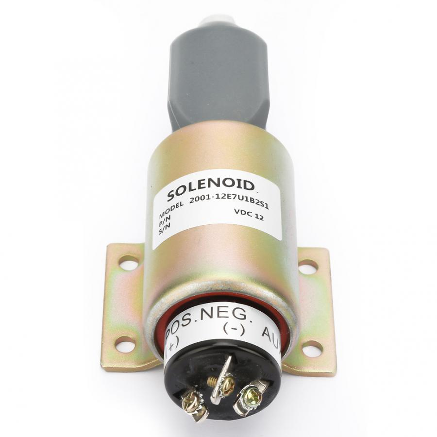 12V Solenoid Valve Steel Housing Diesel Engine Shut Off Stop Solenoid Valve Shutdown Flameout Replacement Kit AM124379 for Diesel Engines